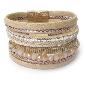 NEW BEIGE LEATHER AND GLASS BEAD WRAP BRACELET